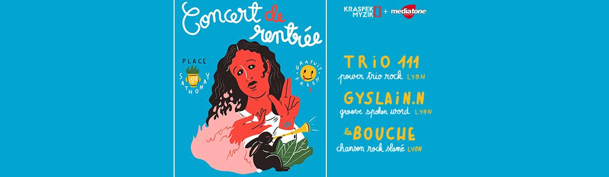 Concert de rentrée Gratuit place Sathonay à Lyon avec Mediatone et le Krapsek Myzik