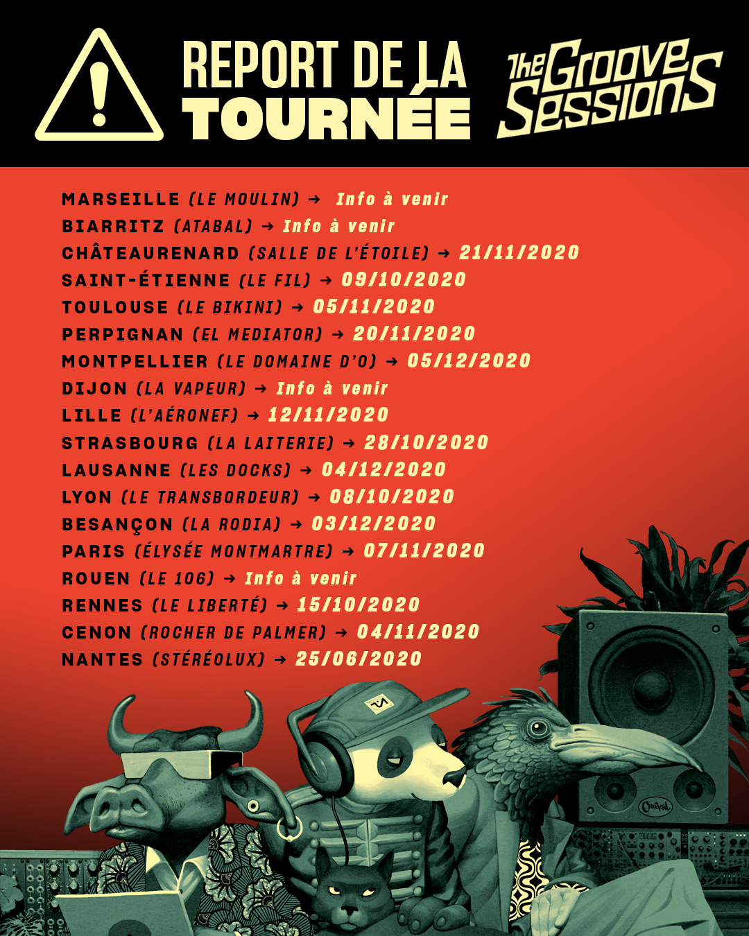 Annonce des dates de report pour la tournée The Groove Session live 2020